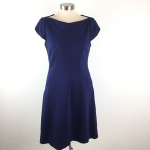 ELIE TAHARI Womens Navy Fitted Shift Midi Dress 8